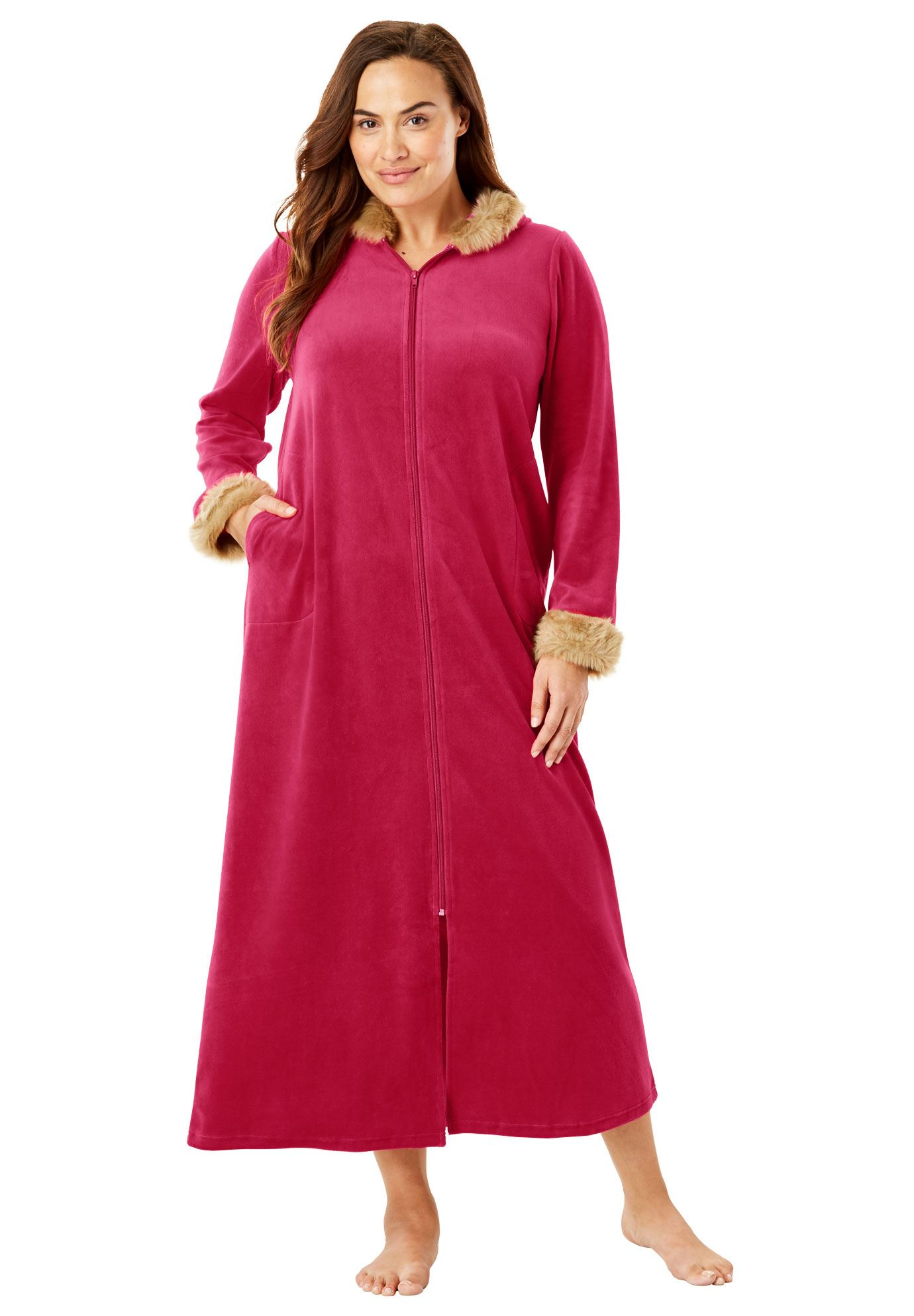 Dreams & Co. Plus Size Fur-trimmed Hooded Robe