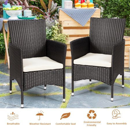 Gymax 2PC Patio Rattan Wicker Dining Chairs Set Black With 2 Set Cushion Covers - image 9 of 10