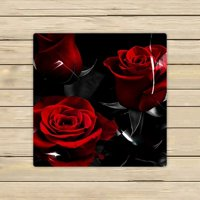 GCKG Fire Red Rose And Black Leaves Hand Towel,Spa Towel,Beach Bath Towels,Bathroom Body Shower Towel Bath Wrap Size 13x13 inches