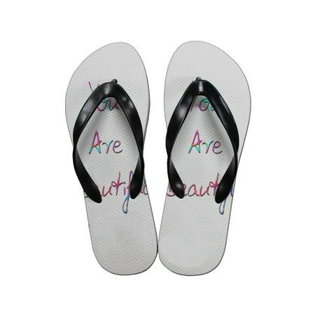 KuzmarK Flip Flop Thong Sandals Unisex - You Are - Beautiful Communion Shoes