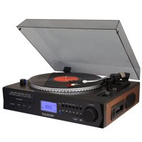Boytone Fully Automatic Large size Turntable, BT Cord free, built in 2 Stereo speaker S-Shaped Tone Arm with Adjustable Counterweight & pitch control, AM/FM, CD, USB, SD, Cassette Player