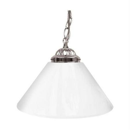 Trademark Global Plain White 14   Single Shade Bar Lamp   Silver Hardware