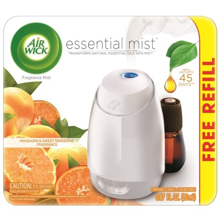 Air Wick Essential Mist Starter Kit (Diffuser + Refill), Mandarin and Sweet Tangerine, Essential Oils Diffuser, Air Freshener