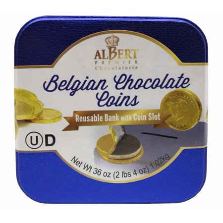 Albert Premier Belgian Chocolate Coins Reusable Bank with Coin Slot 36 OZ (Chocolate Coins Bulk)