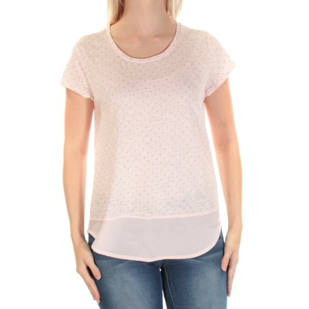 MAISON JULES Womens Pink Sheer Polka Dot Short Sleeve Jewel Neck Top  Size: S - Pink Polka Dot