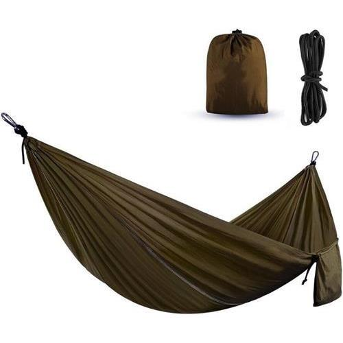 Active Authority X27-Olive Portable Hammocks Ultralight Nylon Parachute Hammock for Light Travel Backpacking Camping, Ropes & Steel Carabiners Included