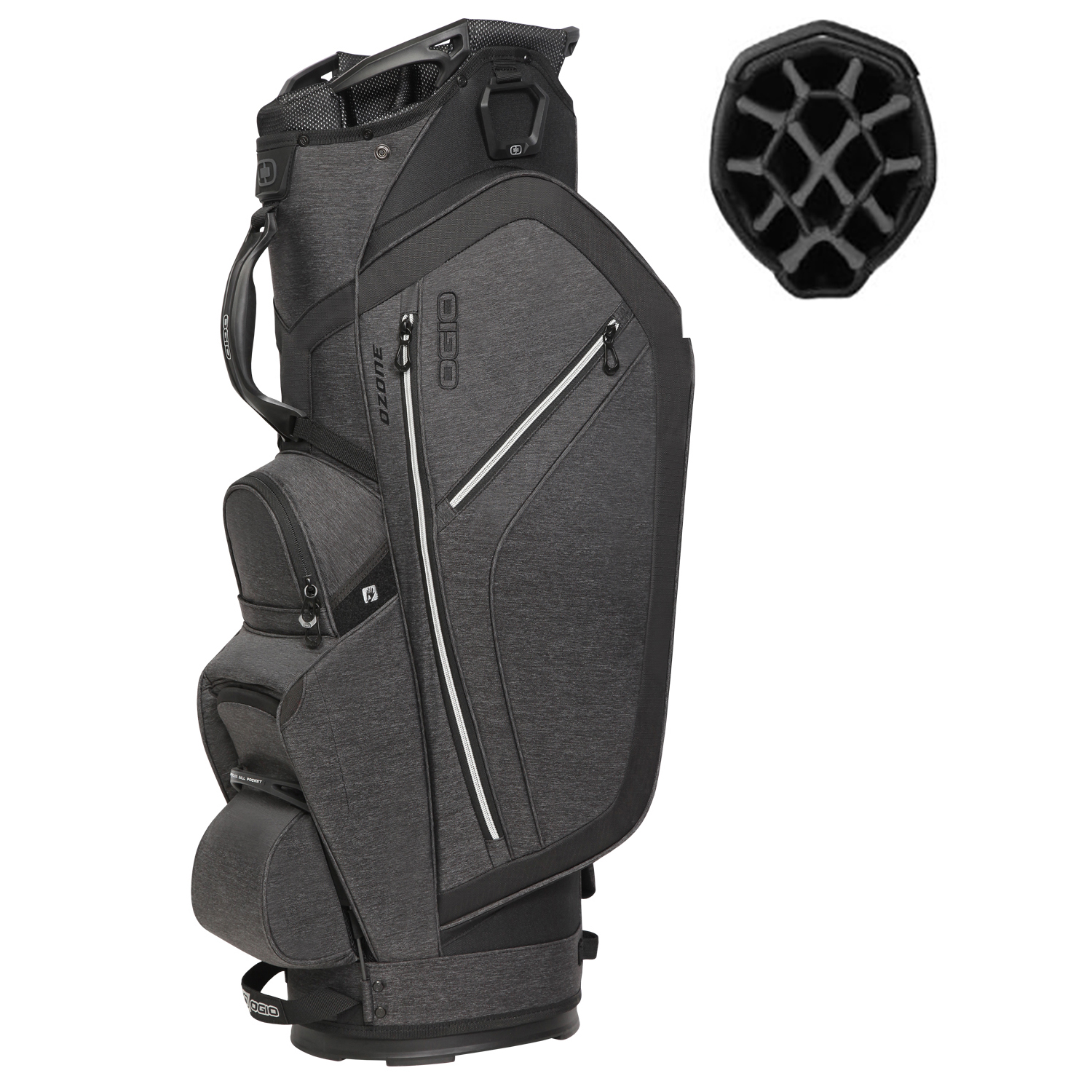 OGIO Ozone 14 Way Diamond Top 6 Pocket/Cooler Pocket Golf Cart Bag, Dark Static