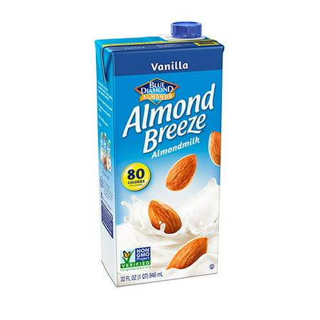 (4 Pack) Blue Diamond Almond Breeze Vanilla Almondmilk, 32 fl (Baking Almond Milk)