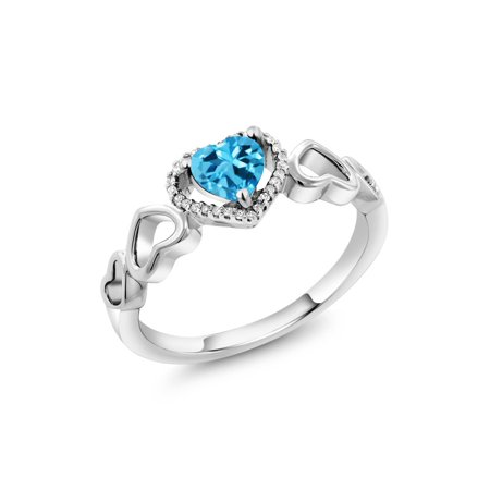 - 10K White Gold 0.76 Ct Heart Shape Swiss Blue Topaz with Diamond Accent Ring