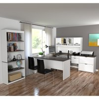 Innova U-shaped desk with accessories in White and Antigua