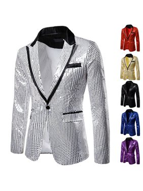 Men Gradient Sequin Suit Jacket Blazer One Button Fashion Coat Wedding PartyTop