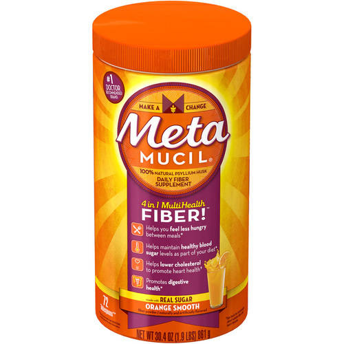 Metamucil Daily Fiber Supplement, 100% Natural Psyllium Husk, Orange Smooth Sugar Free Fiber Powder, 72 Doses