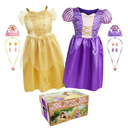 Disney Princess Belle and Rapunzel Dress Up Trunk with 11 unique pieces (Disney Bell Dress)