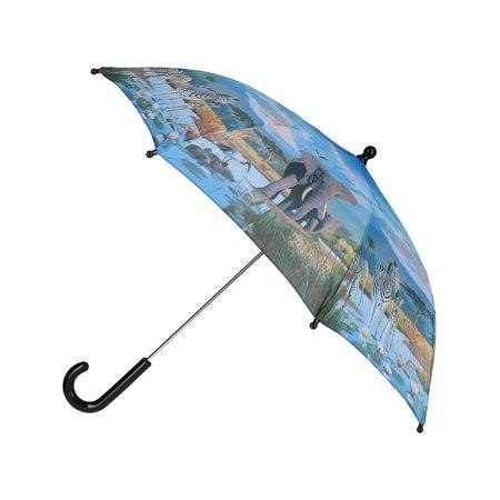 Size one size Kid's Zoo Animal Print Stick Umbrella, Blue