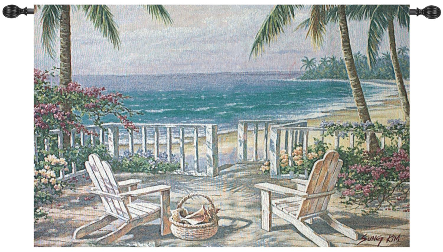 "Beach Party Coastal in Pastel View Cotton Wall Artwork Hanging Tapestry 35"" x 53"" by Manual Weavers"