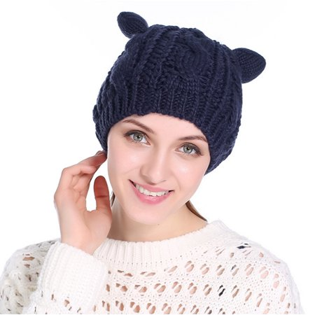 0fa8c6e01 PaZinger Women Winter Beanie Devil Horns Cat Ear Crochet Braided Knit Ski  Wool Cap Hat