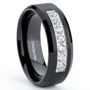 8MM Black Stainless Steel Men's Wedding Band Ring with 7 Round Cubic Zirconia