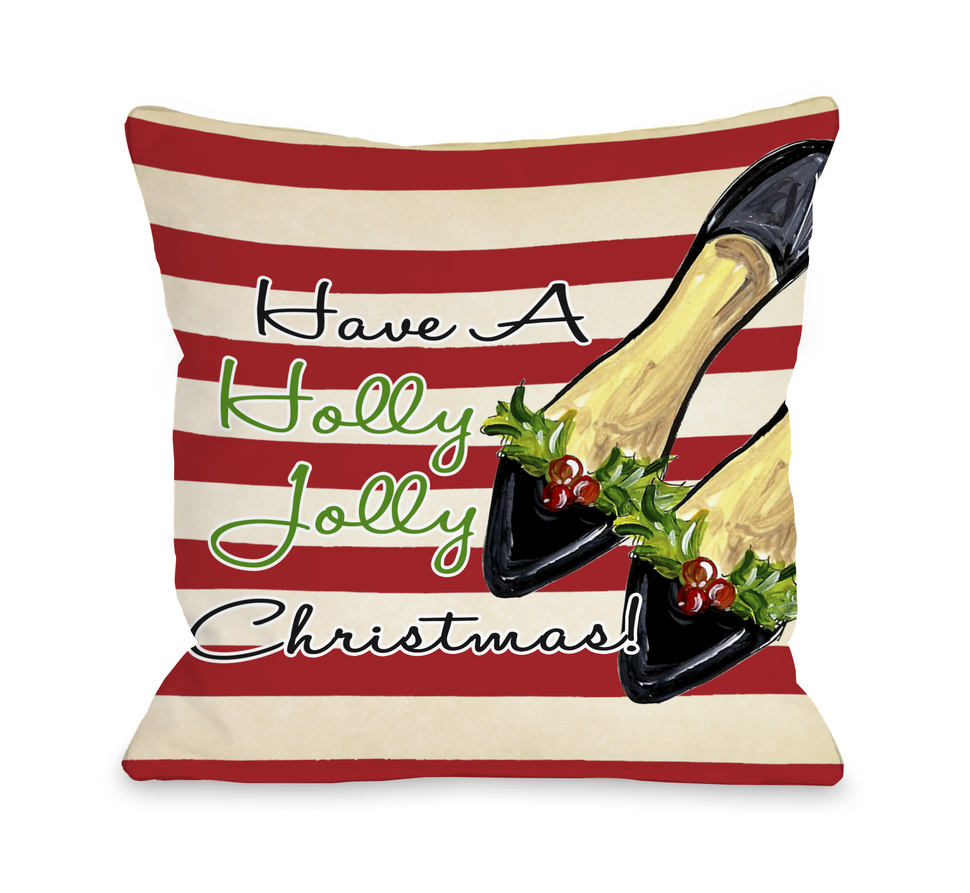 Holly Jolly Christmas Shoes - Tan Red 16x16 Pillow by Timree