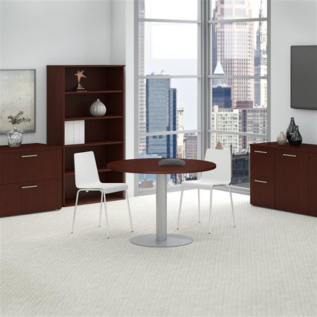 Bush Business Round Conference Table with Metal Disc Base in Cherry - image 6 de 7