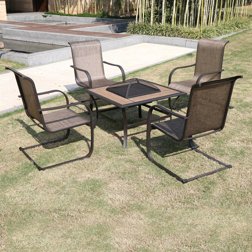 Perfect Winnfield 5 Piece Patio Conversation Set With Fire Pit, Seats 4