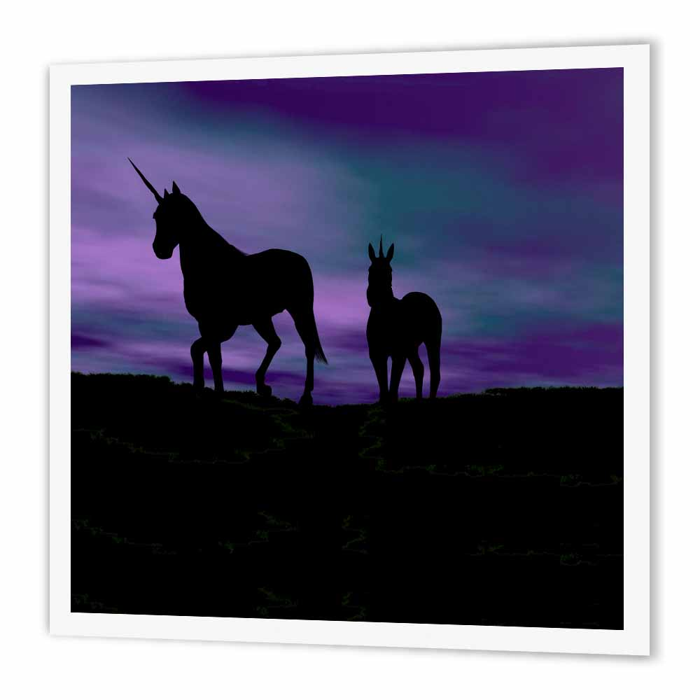 3dRose Unicorns In Silhouette Against A Painted Sky, Iron On Heat Transfer, 10 by 10-inch, For White Material