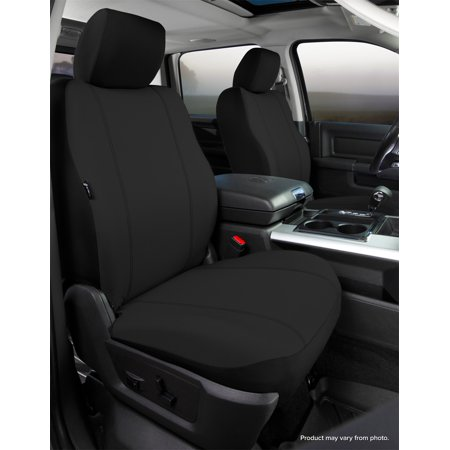 Fia SP87-39 BLACK Seat Protector Custom Seat Cover; Poly-Cotton; Black; Bucket Seats; Adjustable Headrests; Side Airbags; Armrest Drivers Side Only; Passenger Backrest Folds Flat Into Table;
