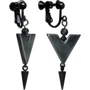 Handcrafted Shimmer Grey Arrow Dangle Clip On Earrings Created with Swarovski Crystals