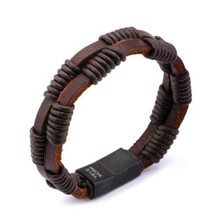 Mens Stainless Steel Double Strap Brown Wrapped Rope Leather Bracelet NEW