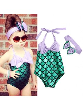 Baby Girl Mermaid Bow Bikini SET Swimwear Swimsuit Bathing Swimming Clothes 2-3Year
