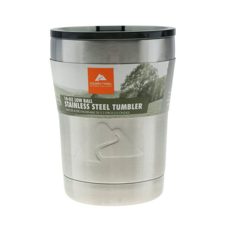Ozark Trail 10-Ounce Double Wall Vacuum Insulated Stainless Steel Lowball Tumbler Stainless Steel Vacuum Insulated Server