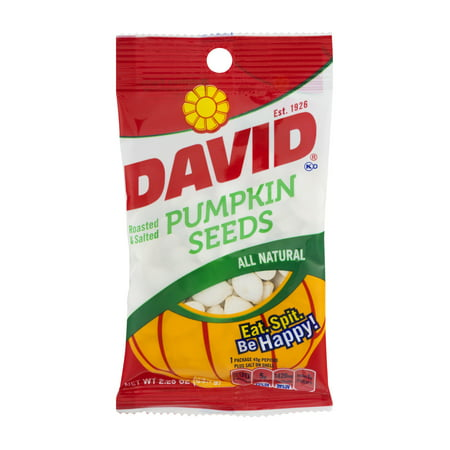 David All Natural Roasted & Salted Pumpkin Seeds, 2.25 Oz.