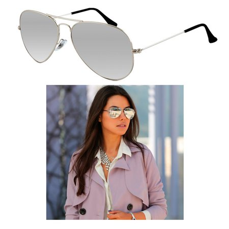 Sunglasses Mirror Lens Silver Metal Frame Vintage Pilot Fashion Retro Shades New