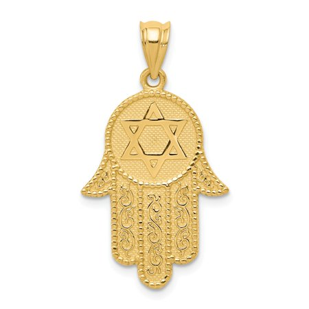 Roy Rose Jewelry 14K Yellow Gold Hamsa w/Star of David Charm