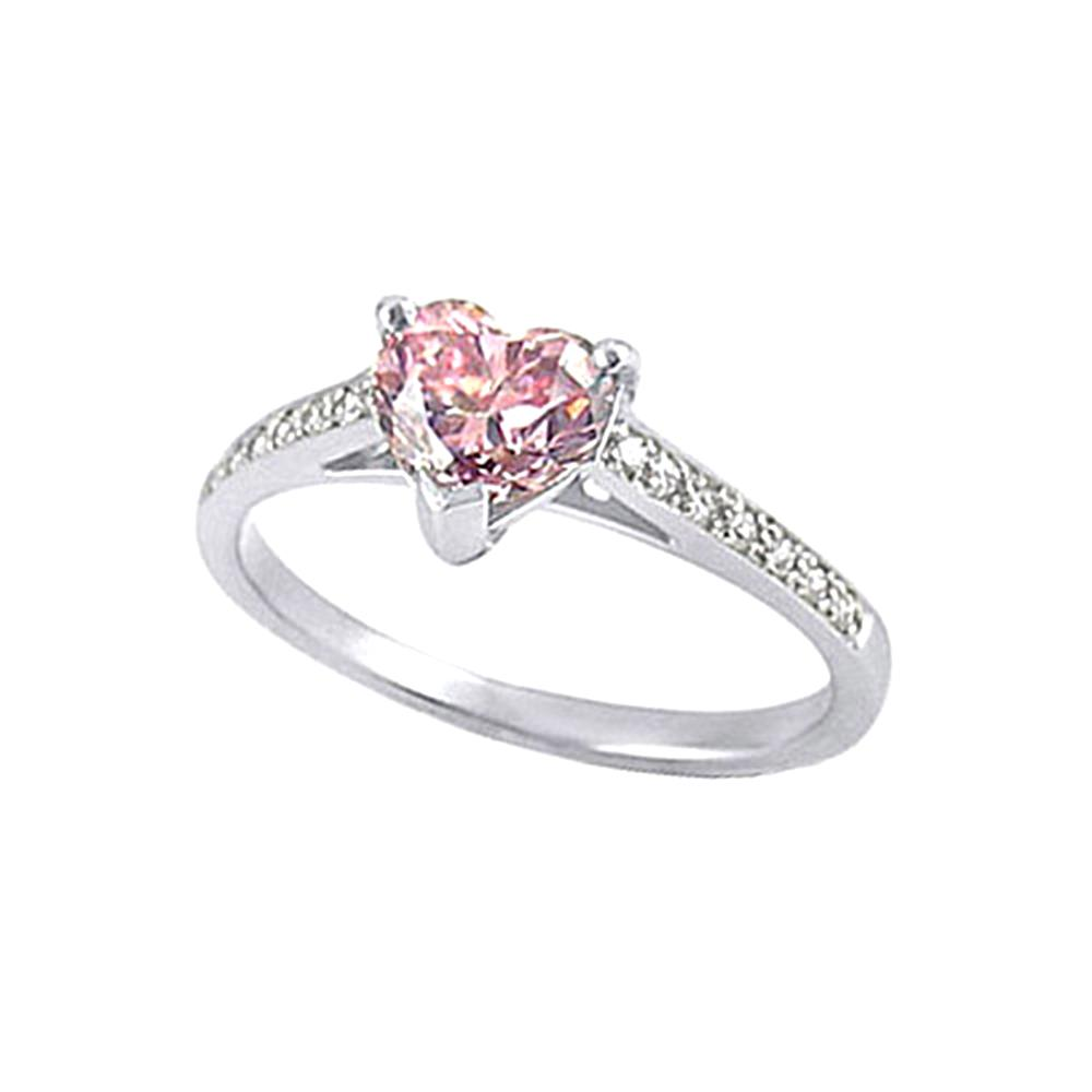 2.86 carat heart shape pink diamonds pave engagement ring...