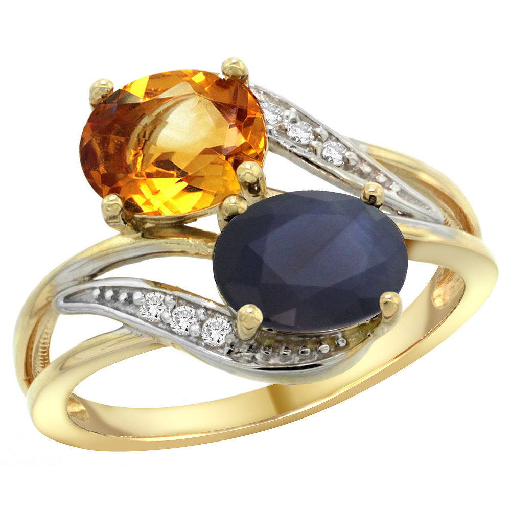 10K Yellow Gold Diamond Natural Citrine & Blue Sapphire 2-stone Ring Oval 8x6mm, sizes 5 - 10
