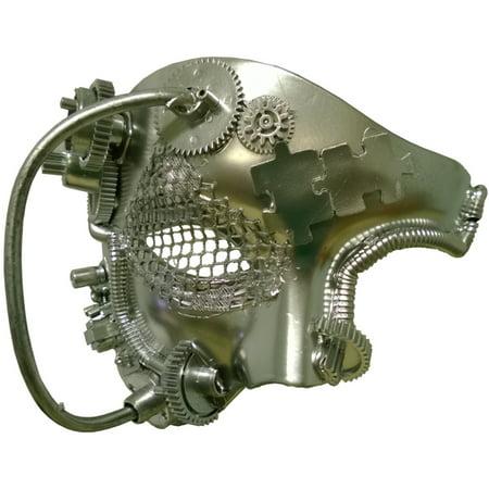 Adult's Metallic Silver Futuristic Steampunk Festival Tie Mask Costume Accessory](Metallic Mask)