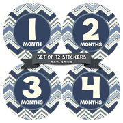 Monthly Baby Stickers by Months In Motion | 12 Month Milestone Sticker for Newborn Babies Boy (Style 1150)
