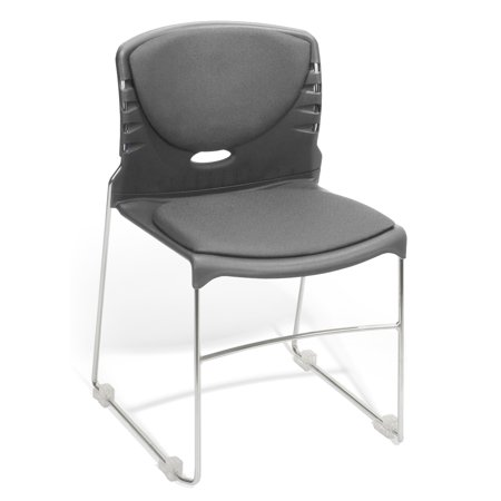 Mid Back Sled Base (Ofminc School Furniture 300 Lbs Capacity Solid Wire Steel Sled Base Contract Gray Fabric Seat & Back Stack Chair)