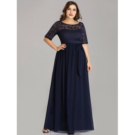 Ever-Pretty Womens Plus Size Elegant Lace Long Formal Evening Mother of the Bride Dresses for Women 07624 Navy Blue US16 (Navy Blue Plus Size Formal Dress)