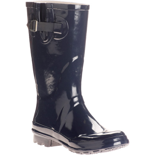 Women's Olympia Solid Buckle Rain Boots
