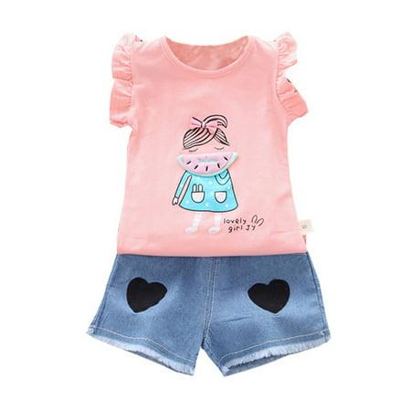 Summer 3M-4T Toddler Baby Girl Kid Cartoon Tops Vest + Denim Shorts Pants Casual - Halloween Cartoon Shorts