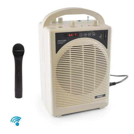 Upgraded Pyle Professional Portable PA System, Amplifier With Built-in Handheld VHF Wireless Microphone, Bluetooth, Battery Rechargeable, MP3, USB, SD, 1/4