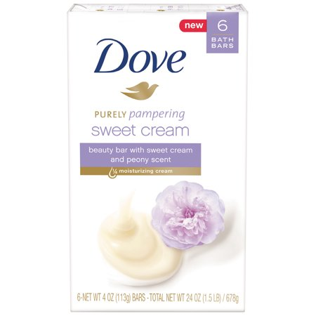 (2 pack) Dove Purely Pampering Sweet Cream & Peony , 4 oz, 6 Bar (Creme Bar)