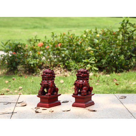 RED FOO DOG - MALE & FEMALE (SET OF 2) (Bunch Of Female Dogs And Garden Tools)