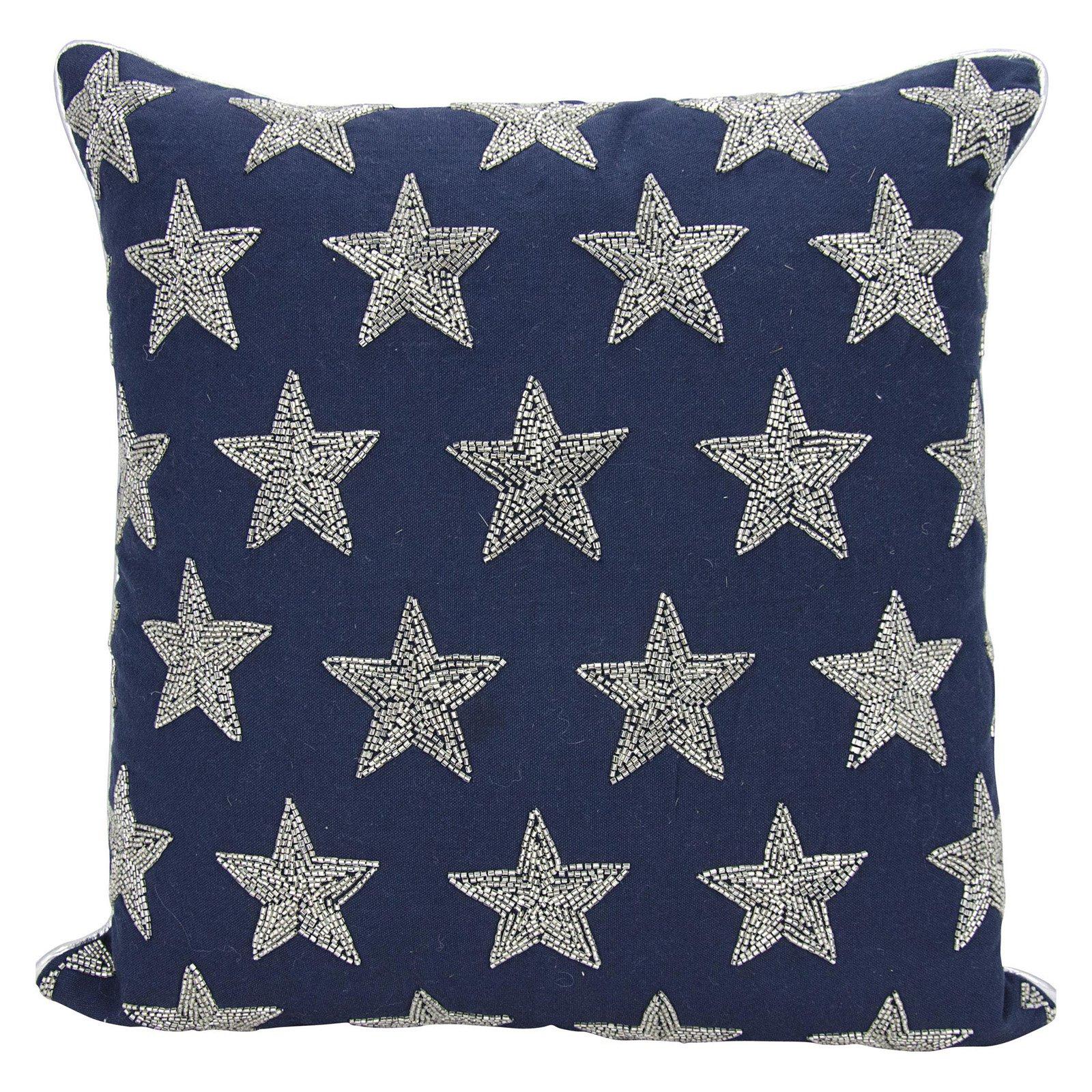 "Nourison Luminecence Beaded Stars Decorative Throw Pillow, 20"" x 20"", Navy/Silver"