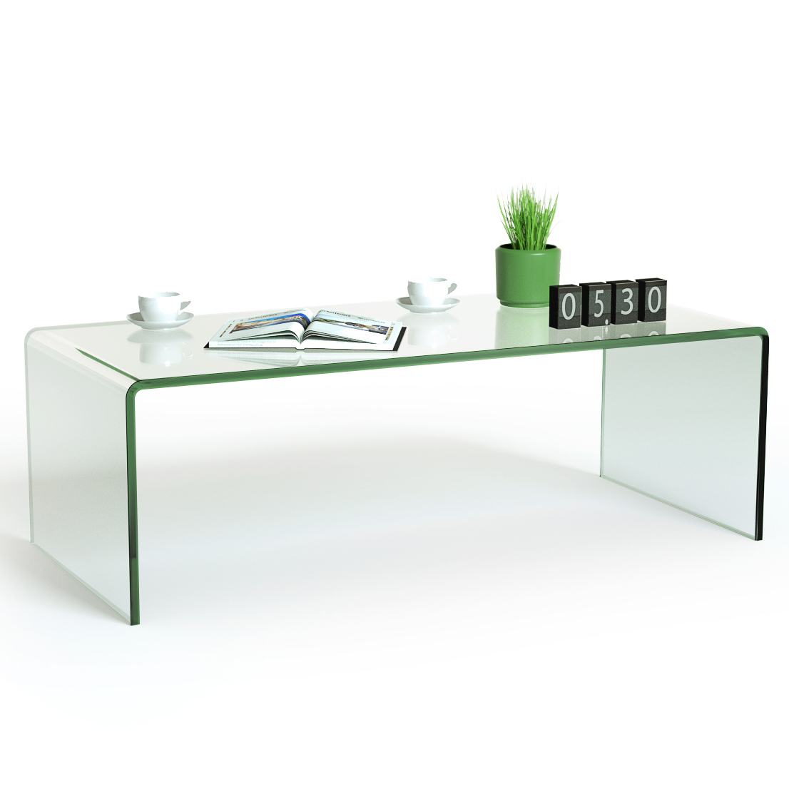 Costway Tempered Glass Coffee Table Accent Cocktail Side ...