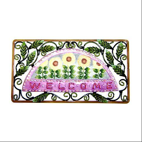 Painted Metal Sunflower Garden Welcome Wall Plaque #46979