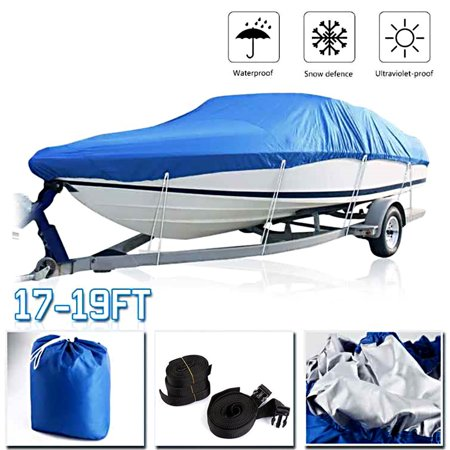 Boat Cover Waterproof Silver Reflective Fits V-HULL TRI-HULL Fishing Boat Runabout Bass Boat Heavy Duty Trailerable Fishing SKI (Best Used Ski Boats)