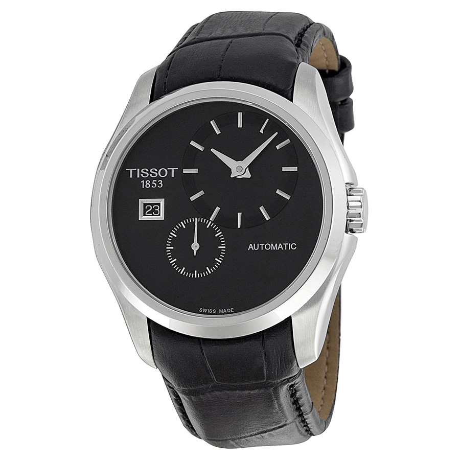 Men's T0354281605100 Couturier Automatic Black Leather Watch (Tissot Men's T0354281605100 Couturier Watch), Size One Size Fits All