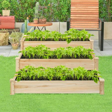 Wooden Raised Vegetable Garden Bed 3 Tier Elevated Planter Kit